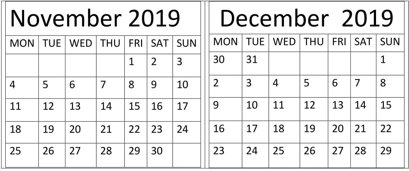 November December 2019 Monthly Calendar