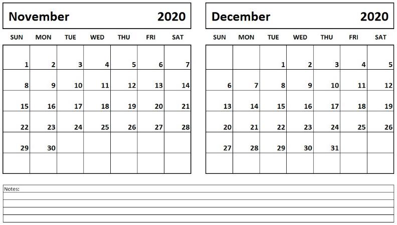 November December 2020 Calendar with Notes