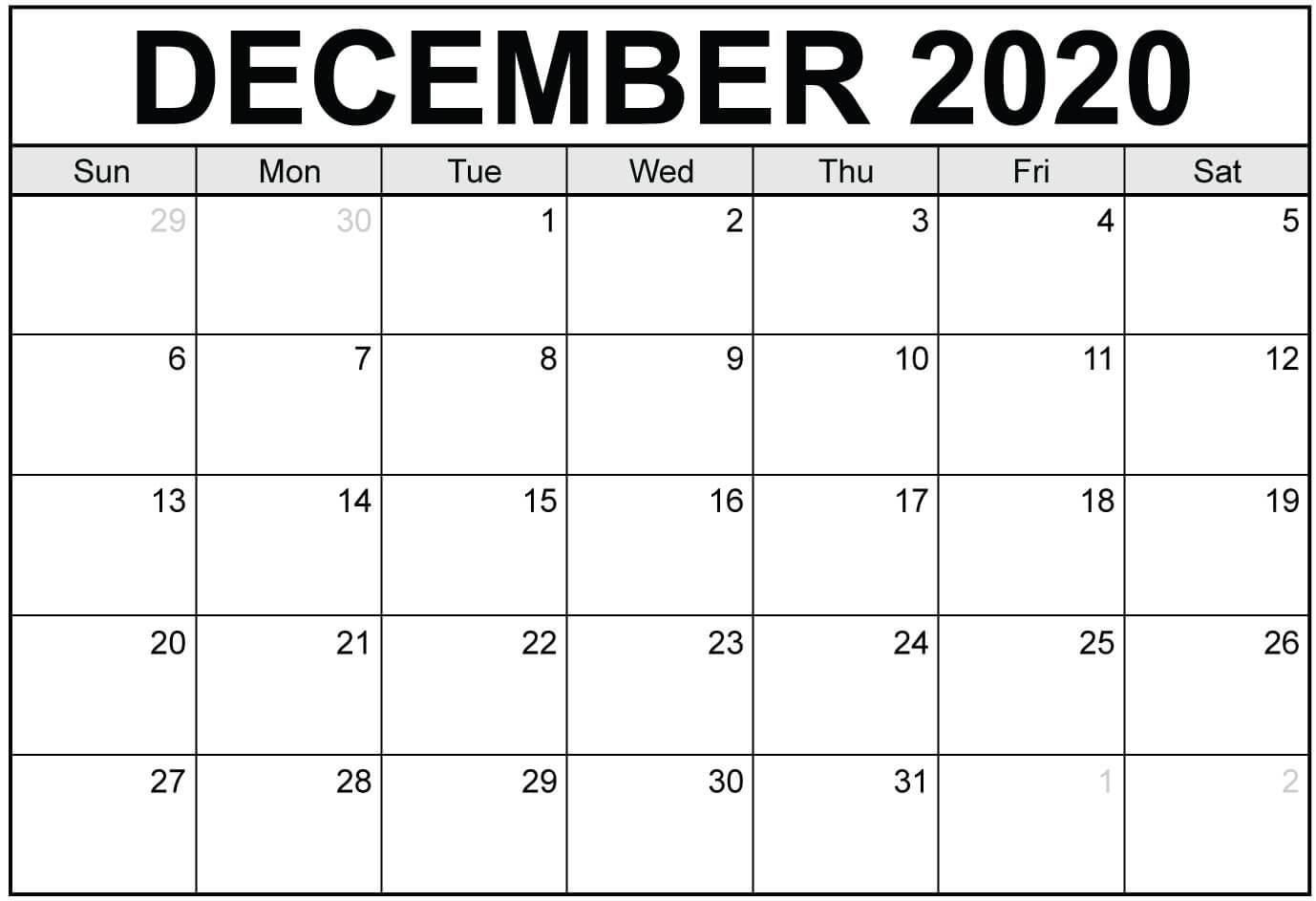 Blank Calendar December 2020 Printable