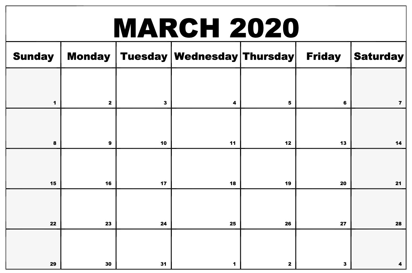 Online March 2020 Calendar Template