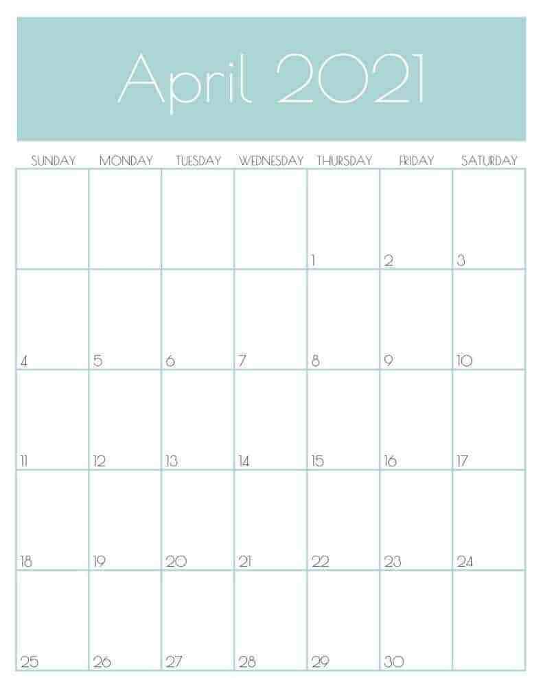Print April 2021 Office Desk Calendar