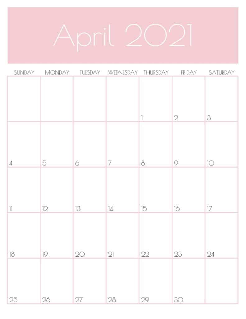 Print April 2021 Portrait Calendar A4 Size