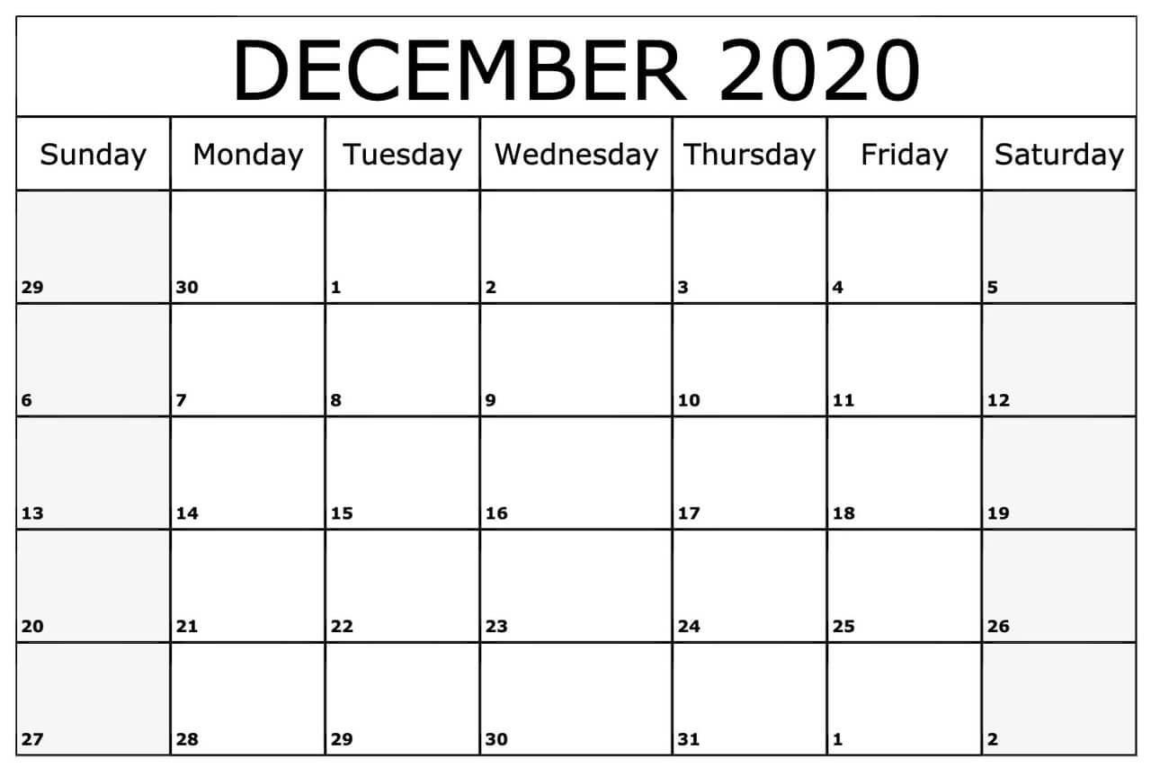 Print Blank Calendar December 2020