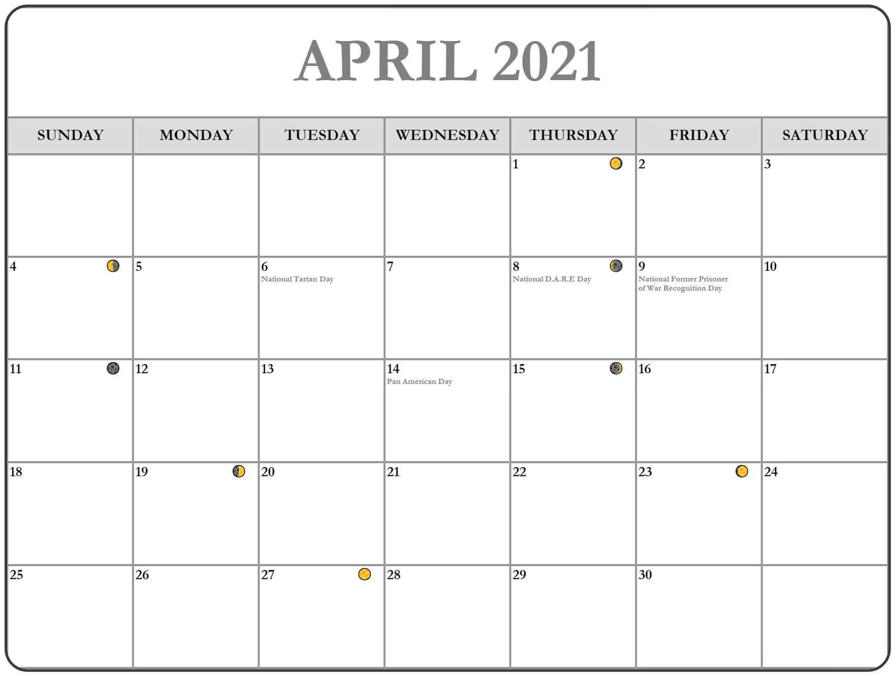 Printable April 2021 Lunar Calendar