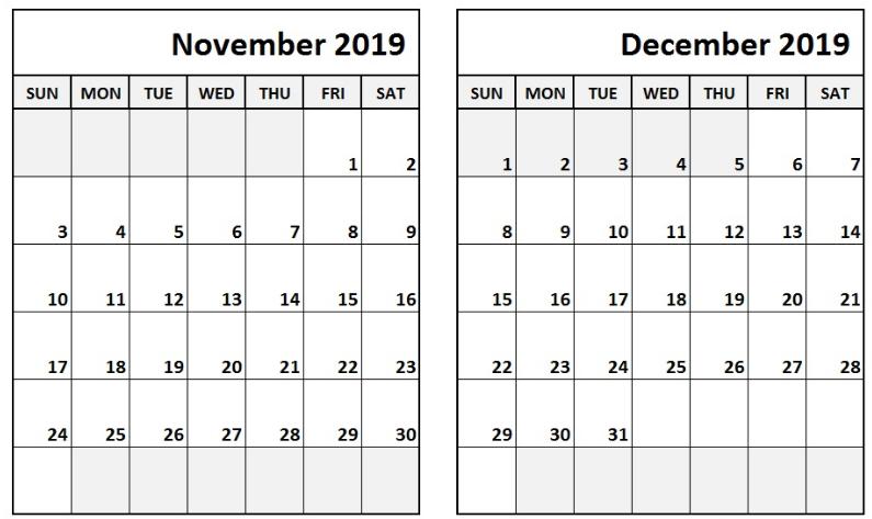 Printable Calendar November December 2019