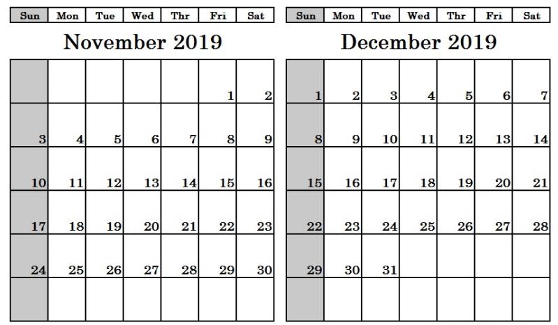 Printable November December 2019
