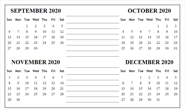 September October November December 2020 Calendar