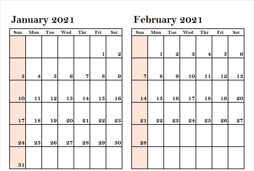 Two Month January February 2021 Calendar