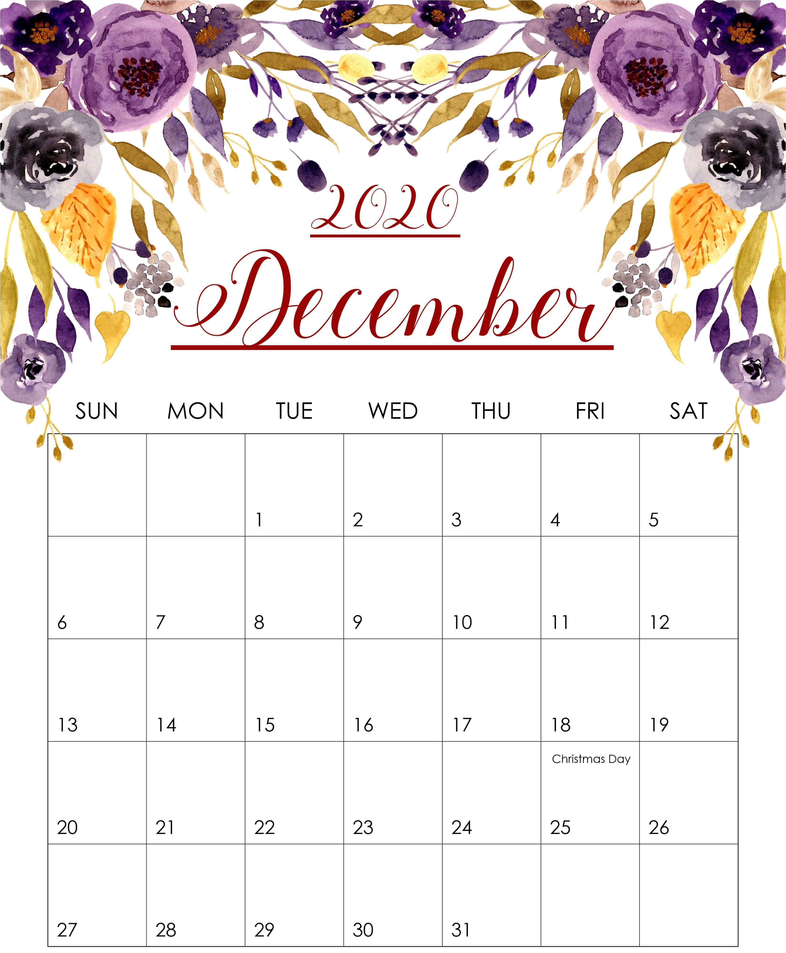 2020 December Floral Calendar