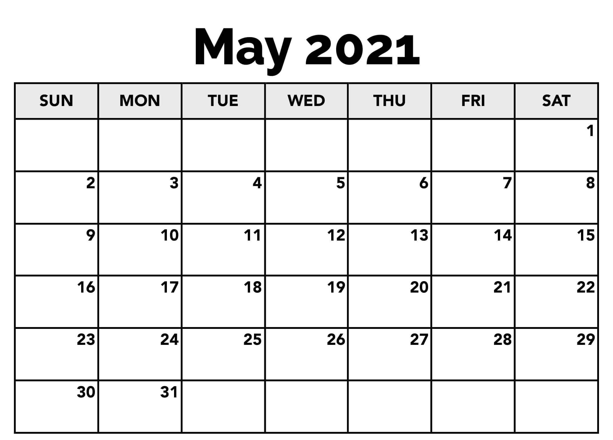 2021 May Calendar Template