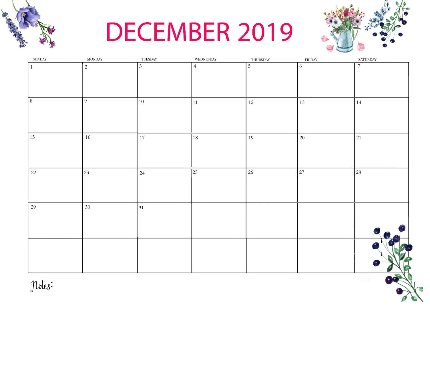 Best Floral December 2019 Calendar