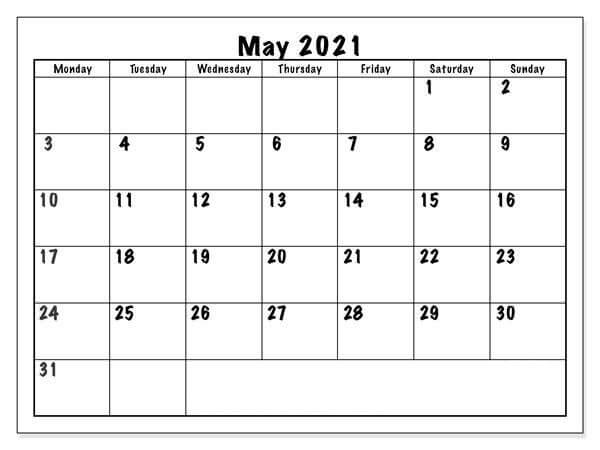 Blank Calendar Template May 2021