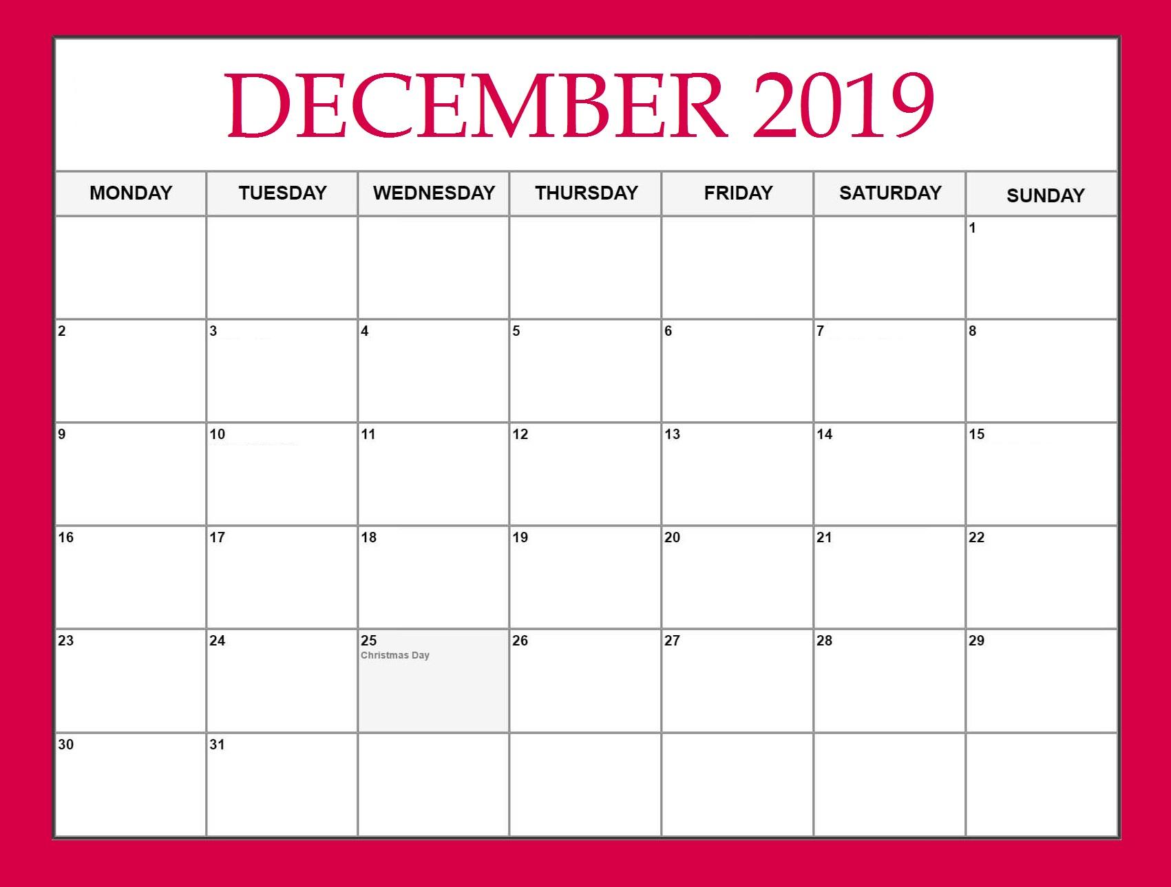 Cute December 2019 Printable Calendar
