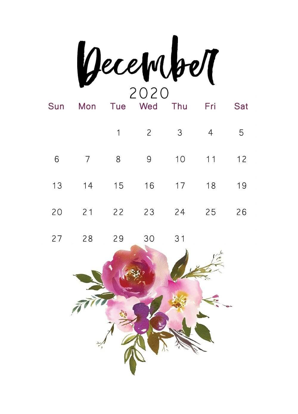 Cute December 2020 Calendar Design