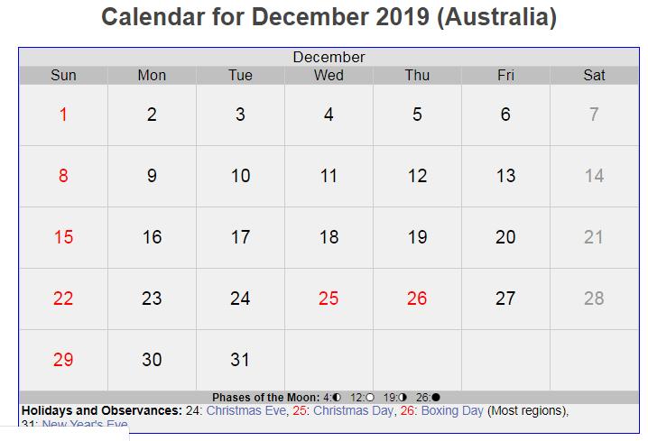 December 2019 Australia Holidays Calendar