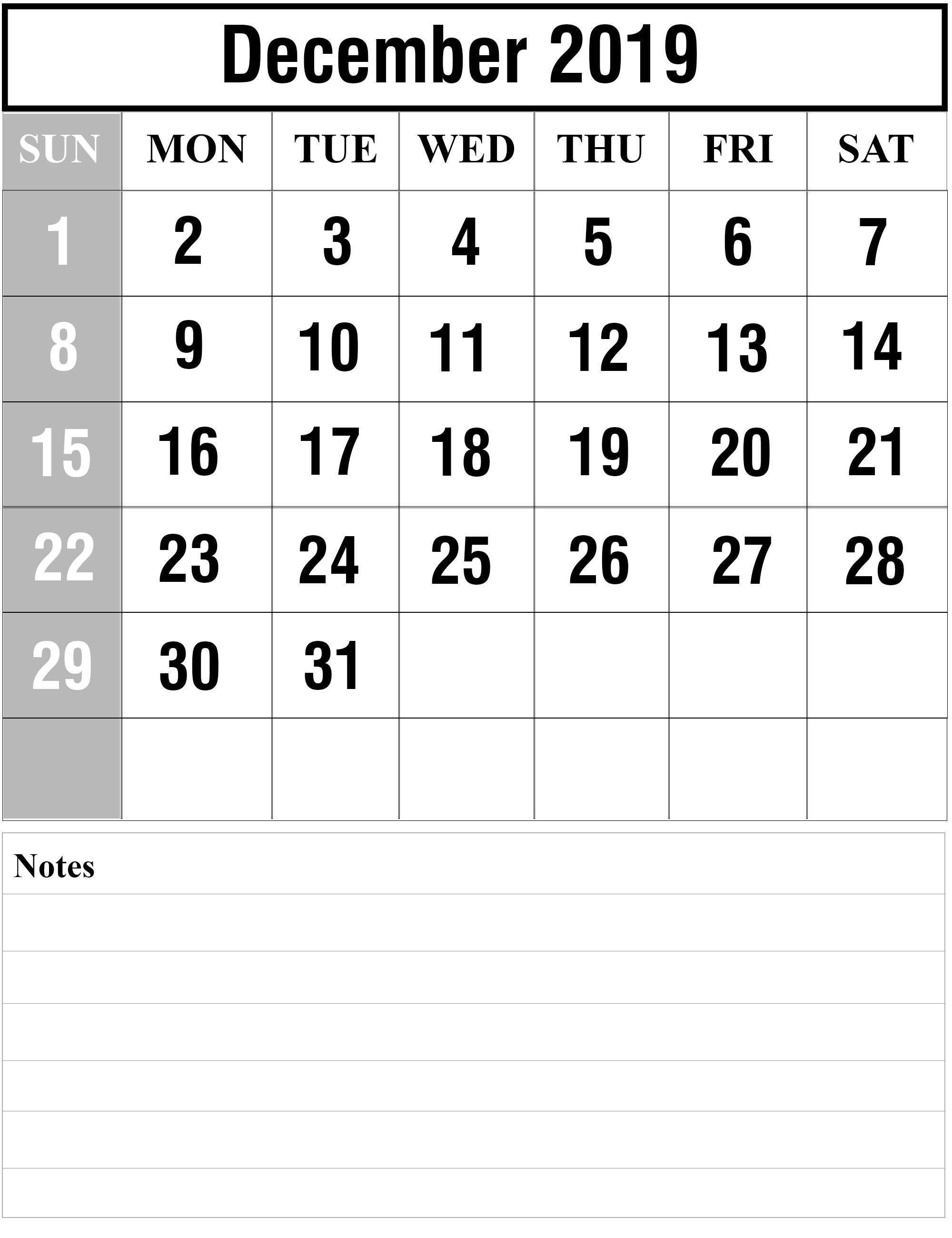 December 2019 Calendar Portrait