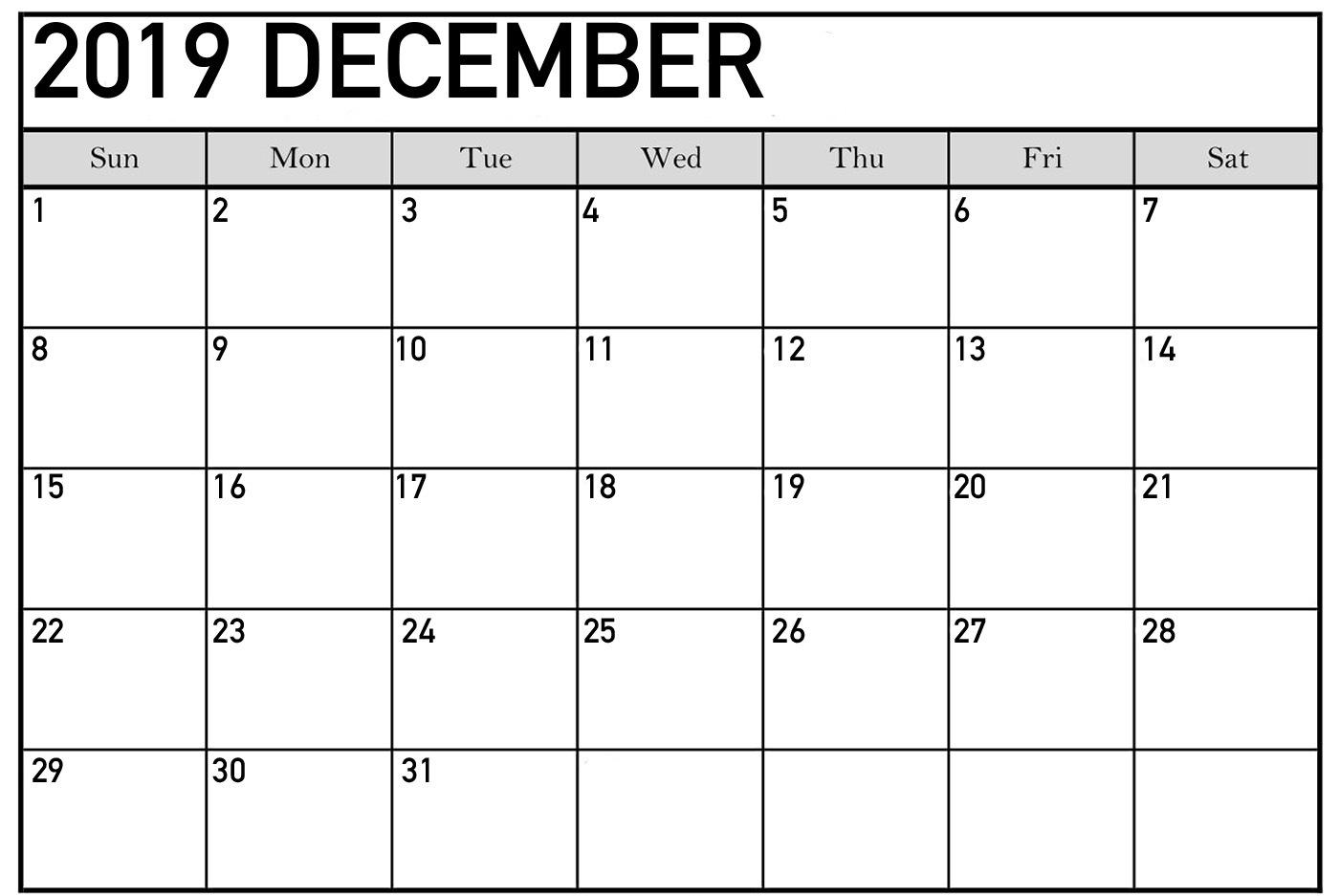 December 2019 Calendar Printable Cute