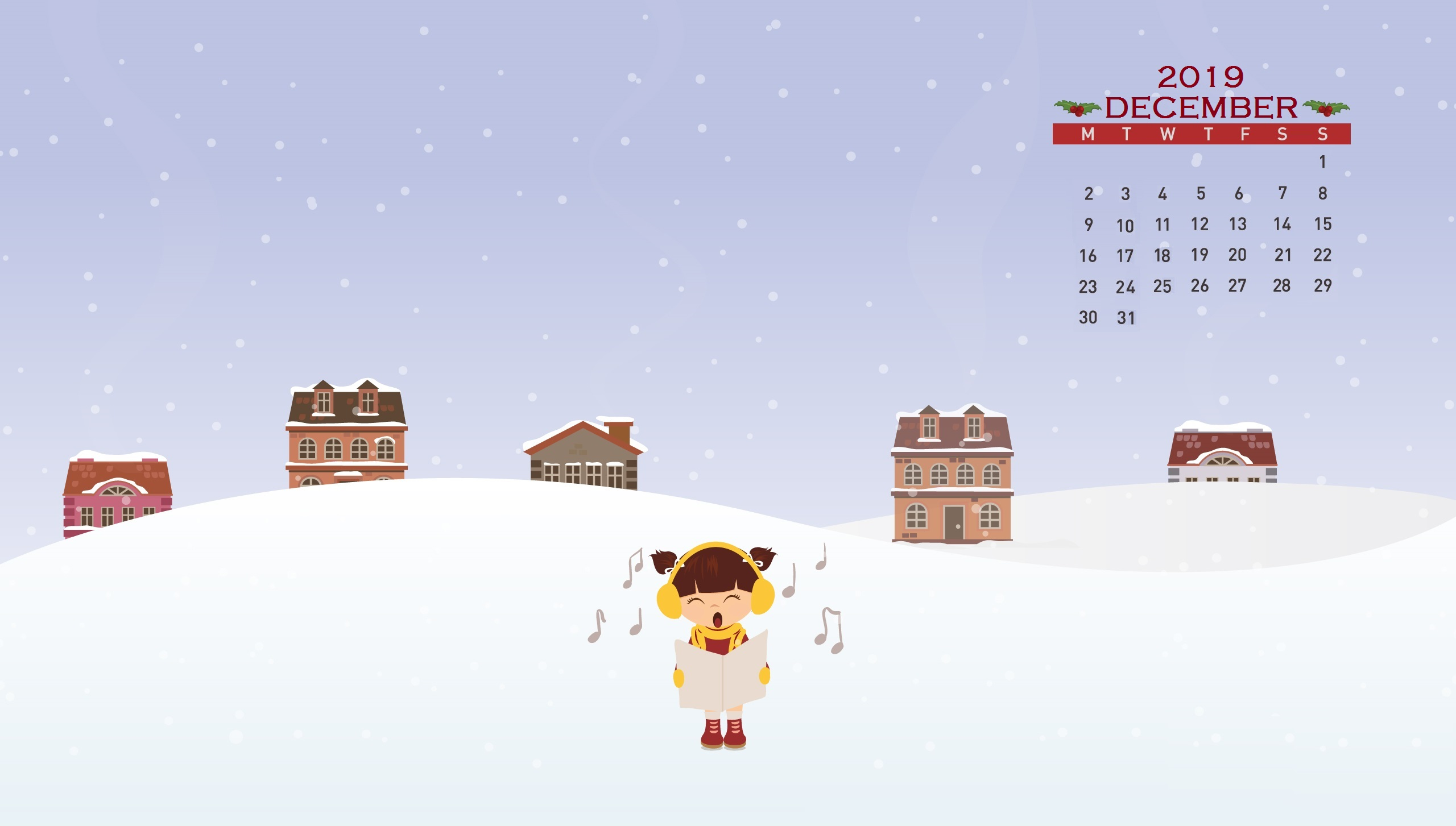 December 2019 Calendar Screensaver