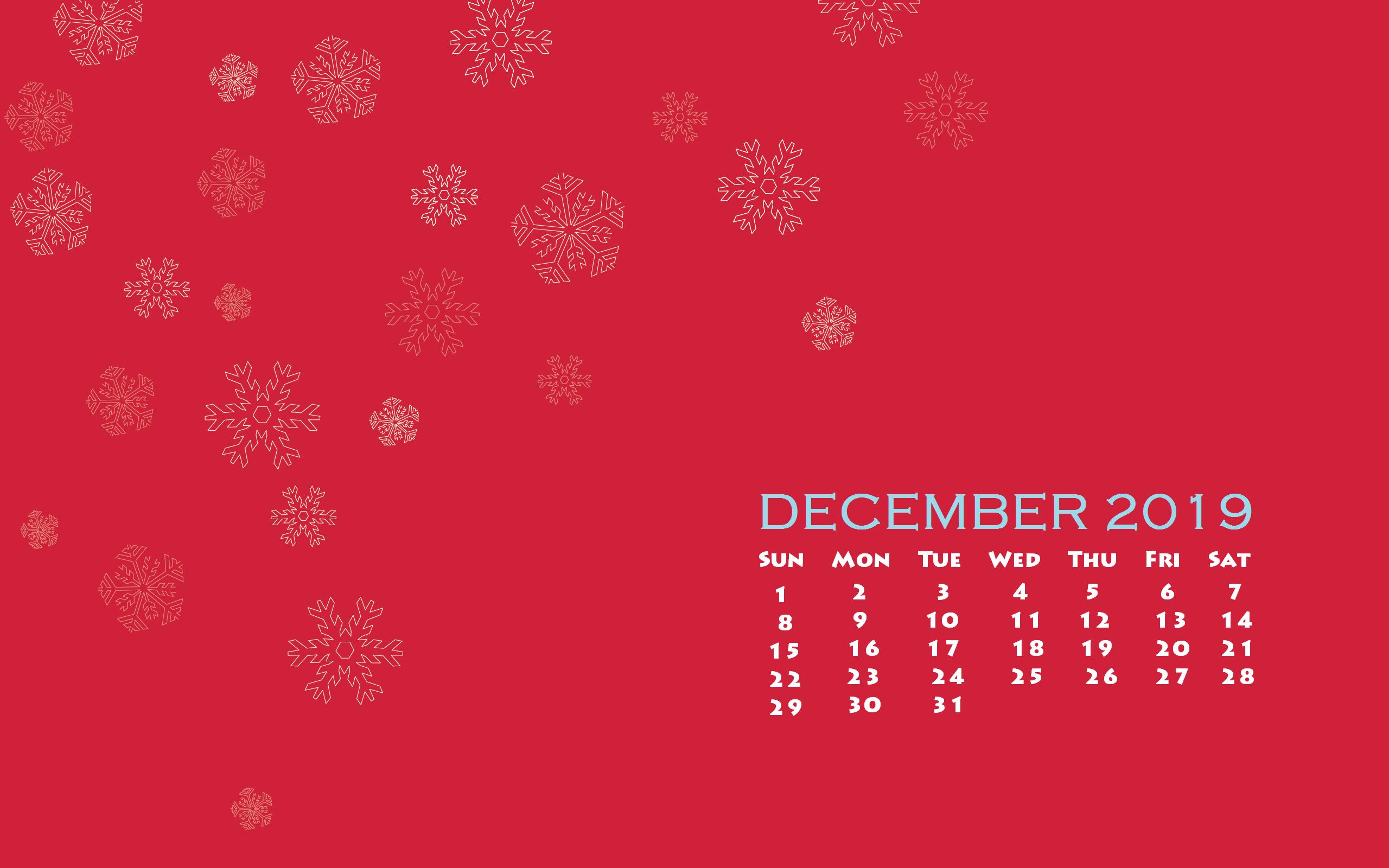 December 2019 Desktop Calendar Wallpaper