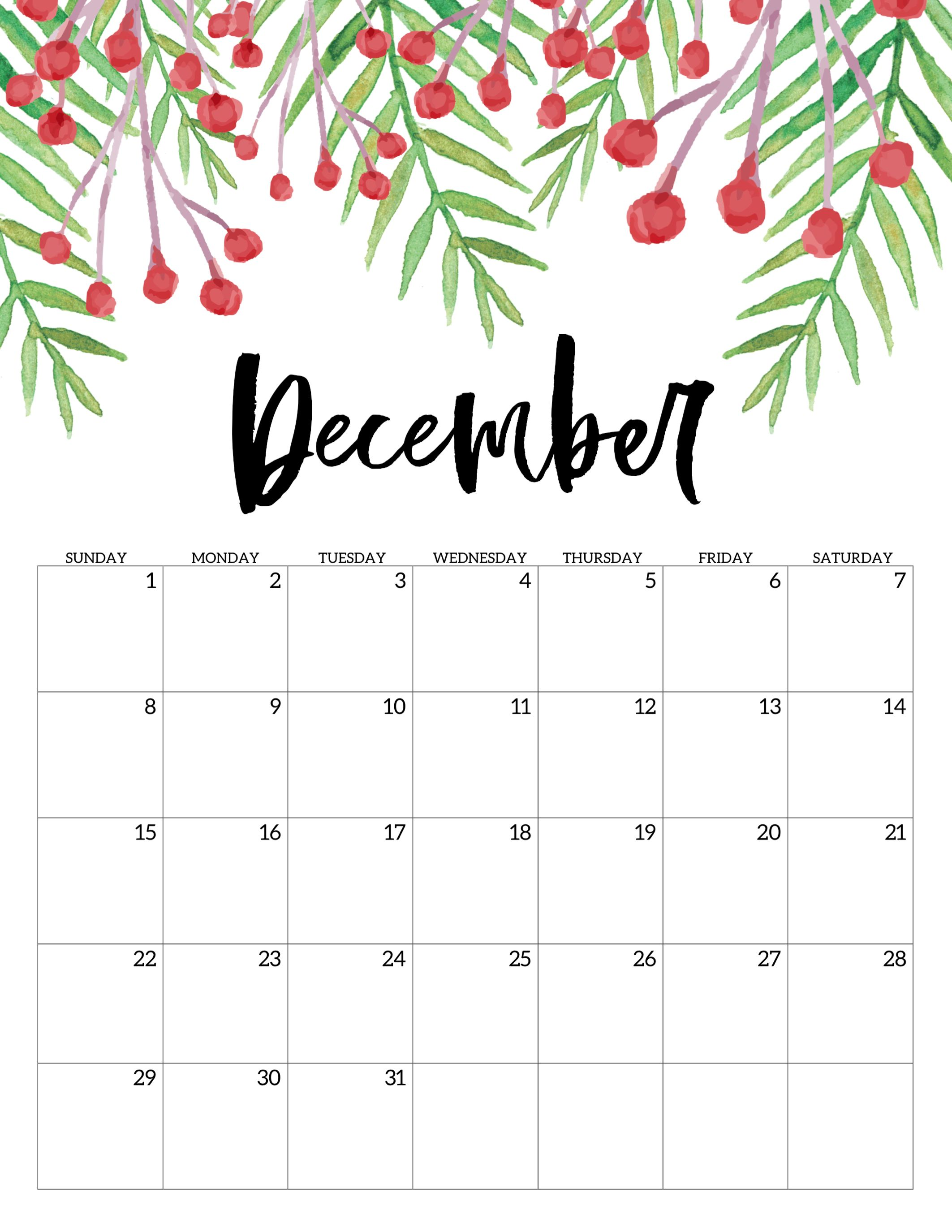 December 2019 Floral Calendar