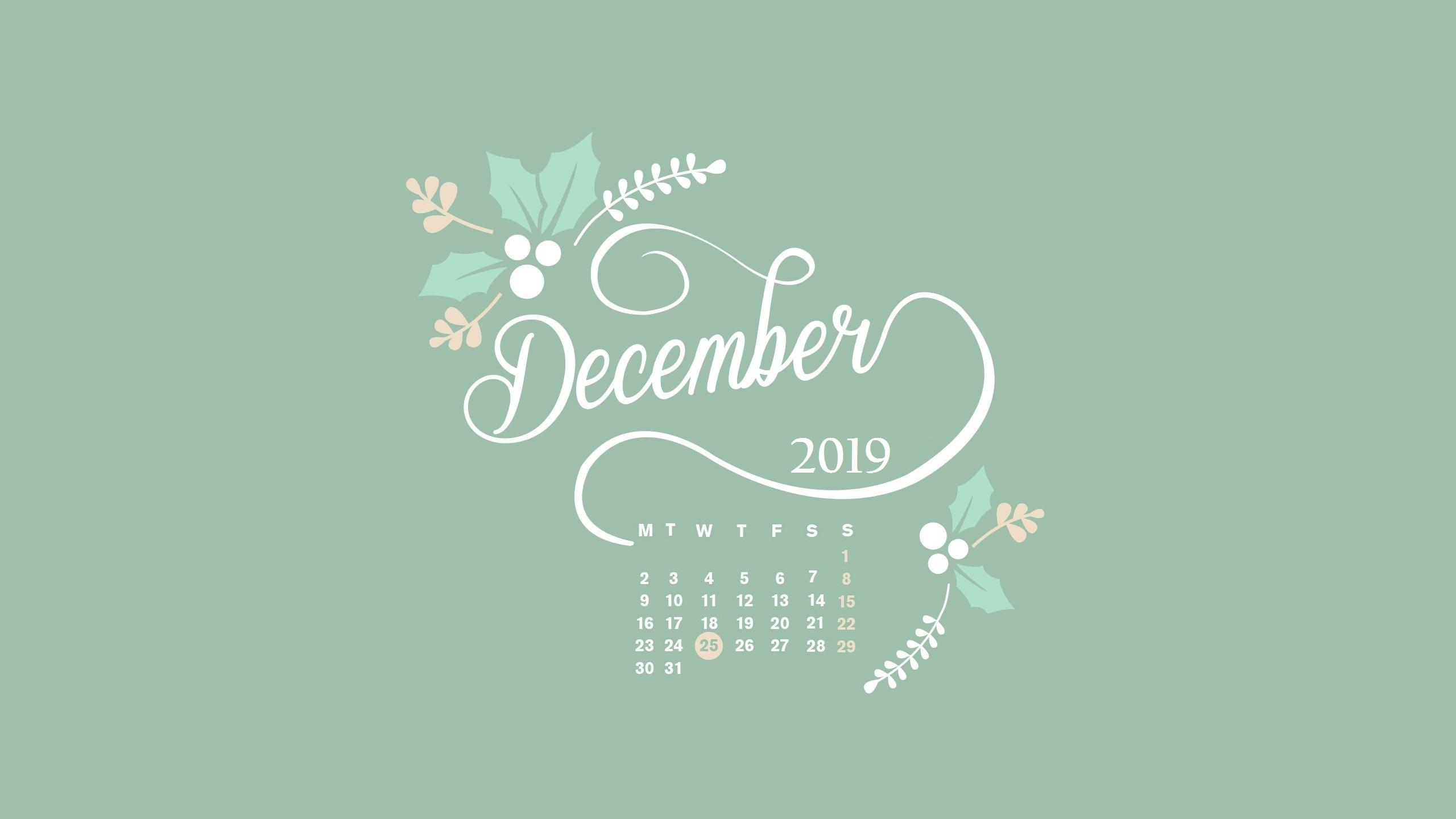 December 2019 HD Calendar Wallpaper