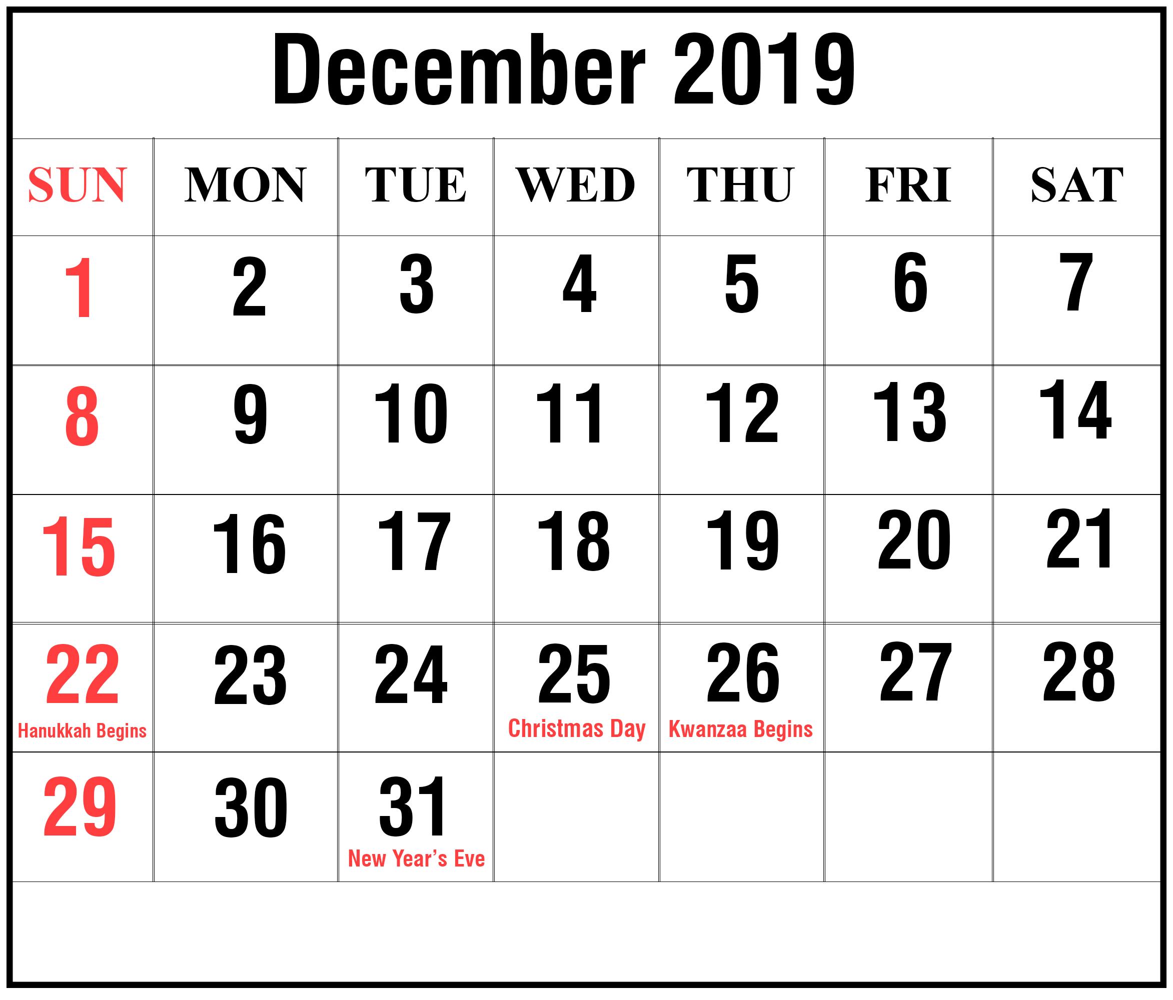 December 2019 Holidays Calendar