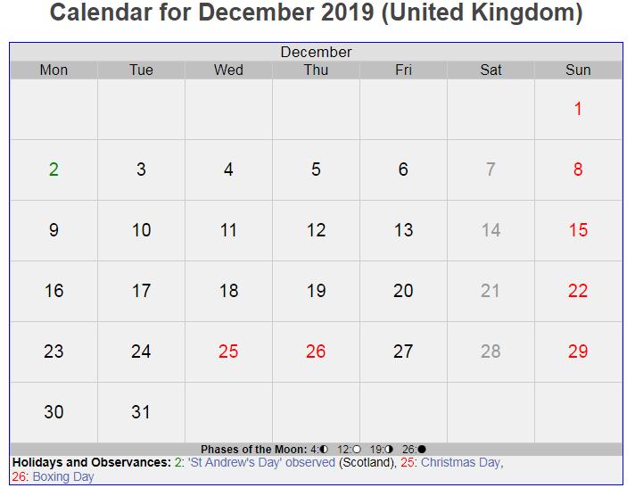 December 2019 UK Holidays Calendar