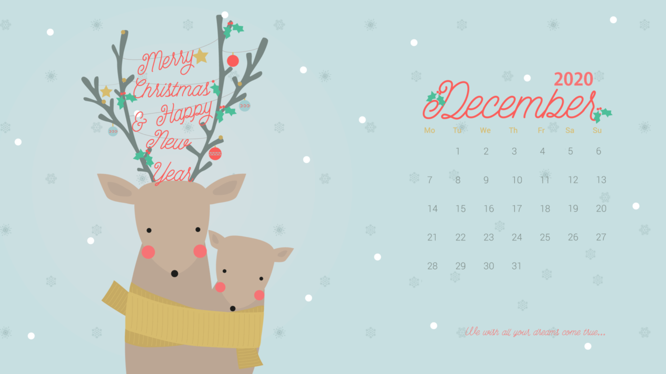 December 2020 Calendar Screensaver