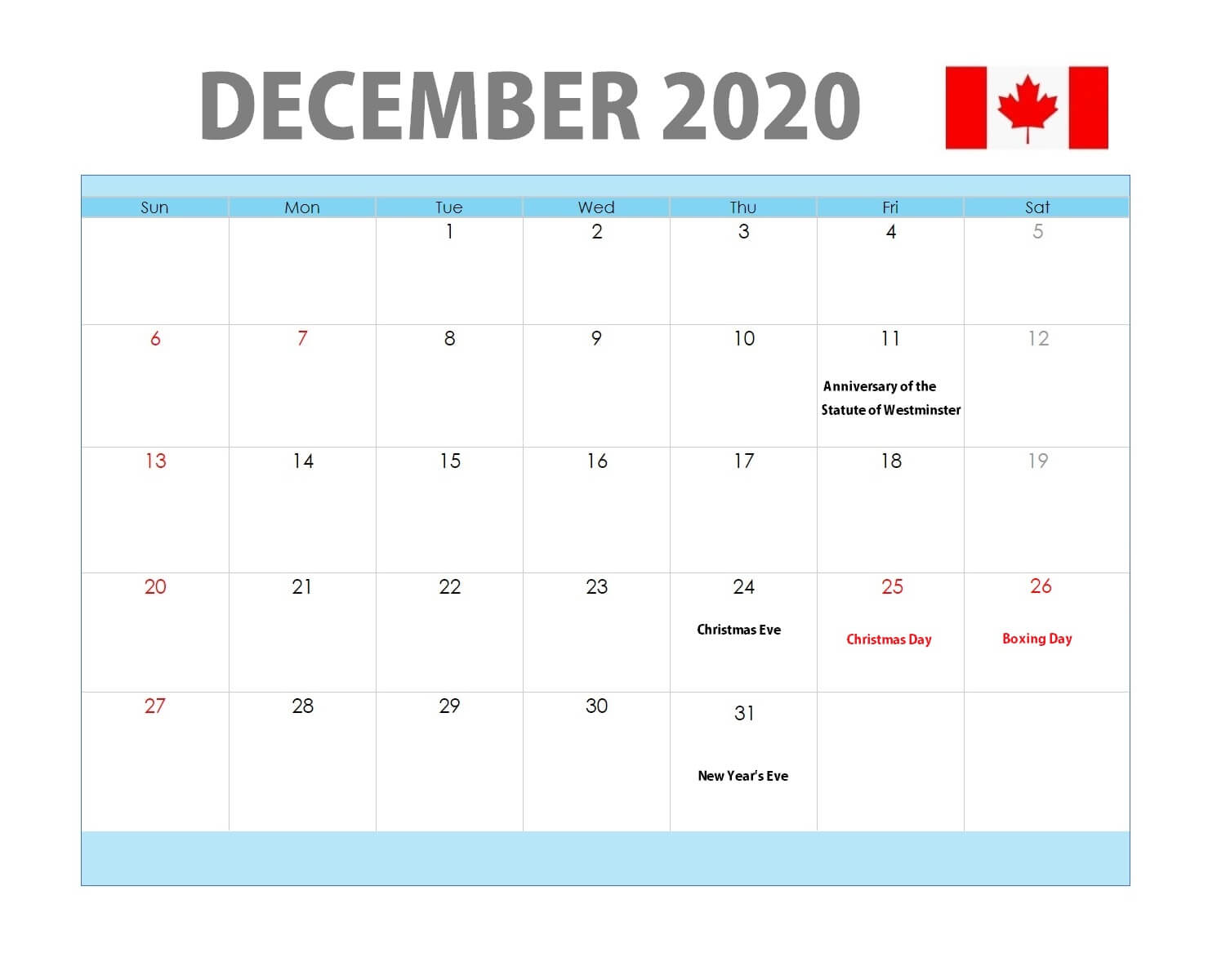 December 2020 Calendar with Holidays Canada