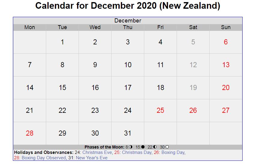 December 2020 Calendar with Holidays New Zealand