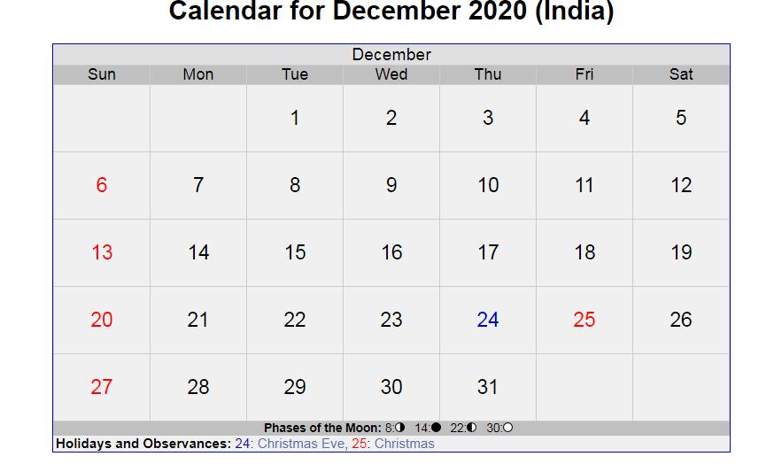 December 2020 Calendar with India Holidays