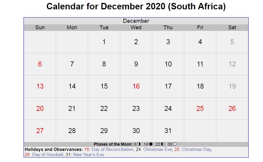 December 2020 South Africa Holidays Calendar