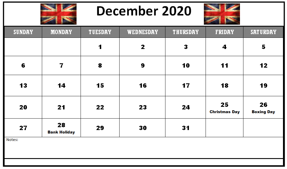 December 2020 UK Holidays Calendar