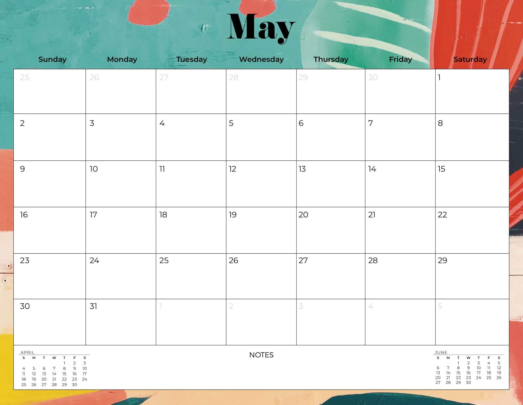 Decorative May 2021 Desk Calendar