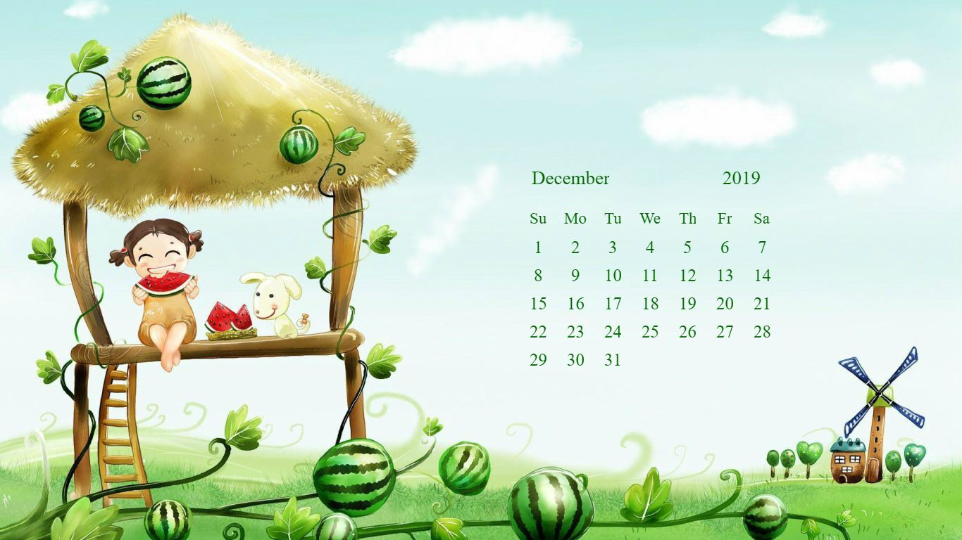 Desktop Calendar Wallpaper for December 2019