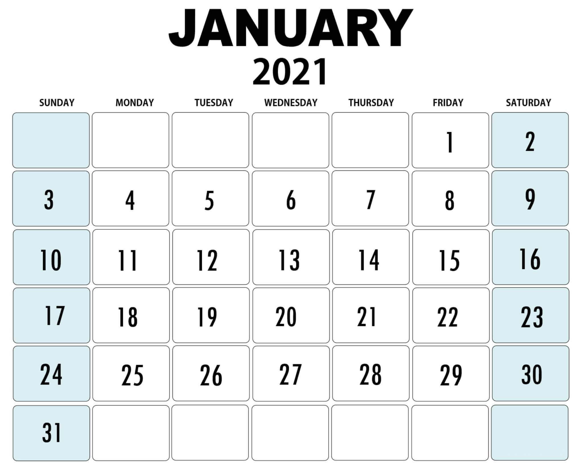 Editable Calendar For January 2021