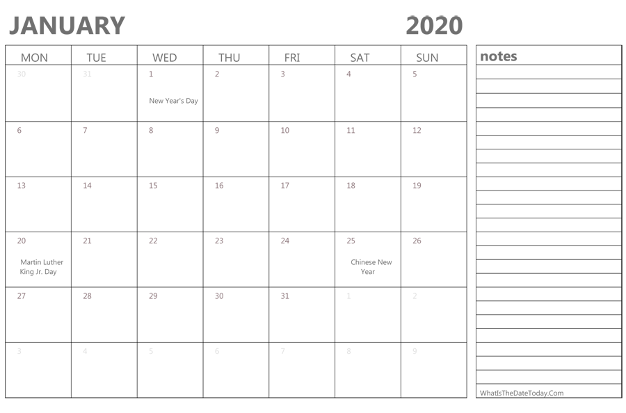 Fillable Calendar For January 2020