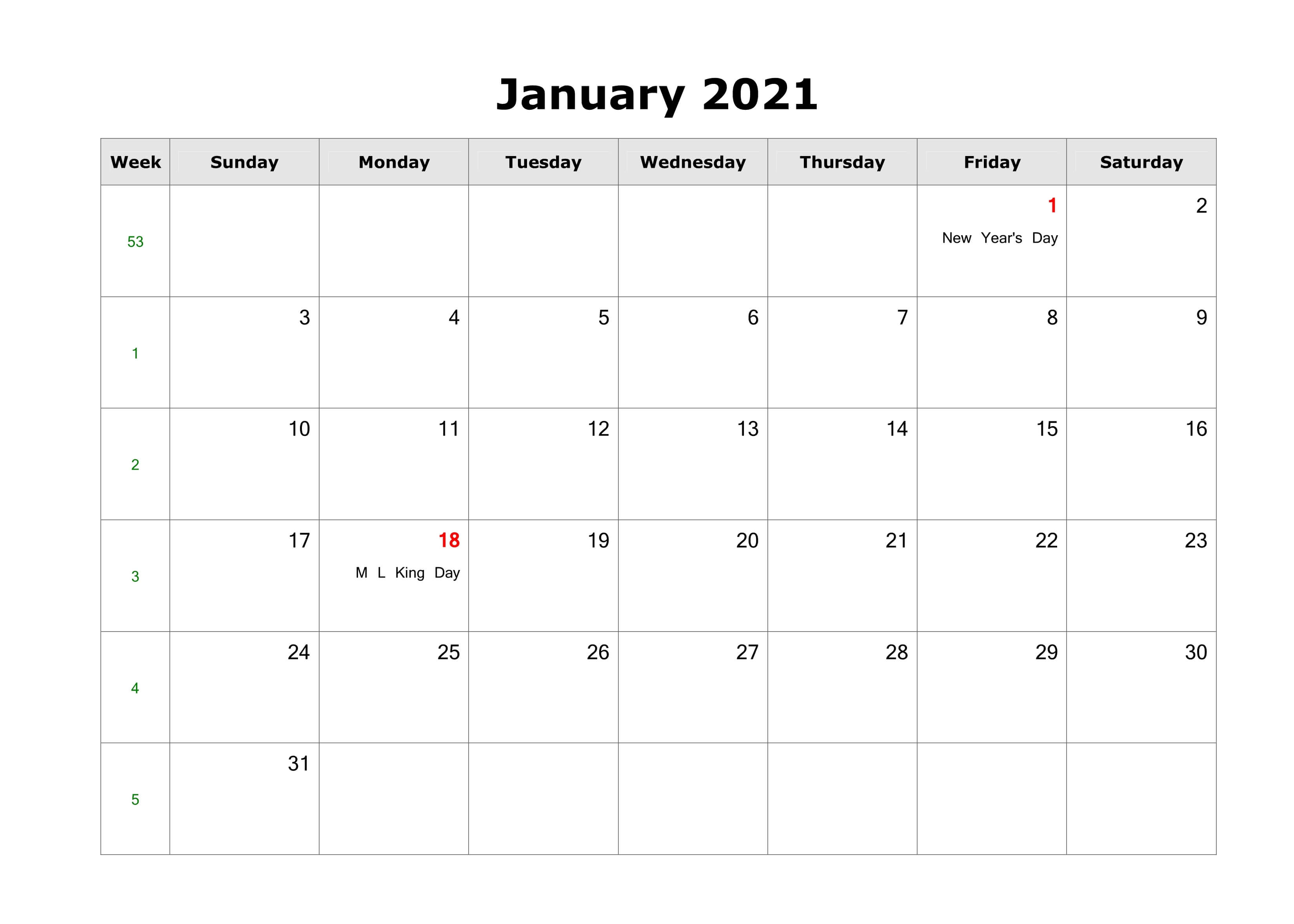 Fillable Calendar For January 2021 Printable
