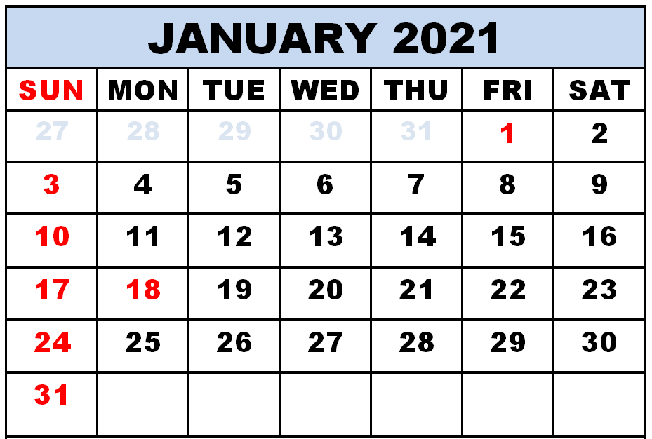 Fillable Calendar January 2021 with Large Space Notes