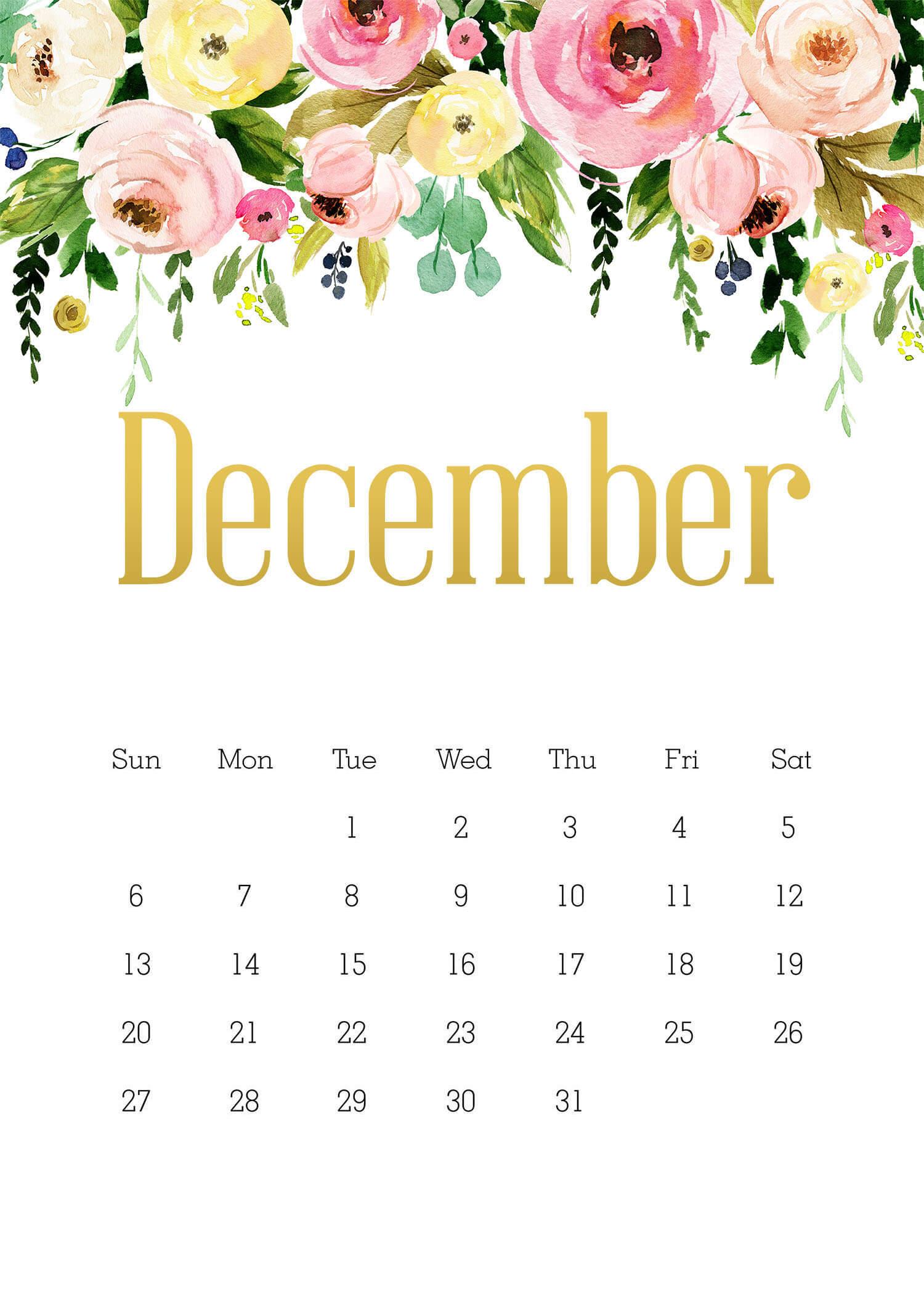 Floral Dec 2020 Desk Calendar