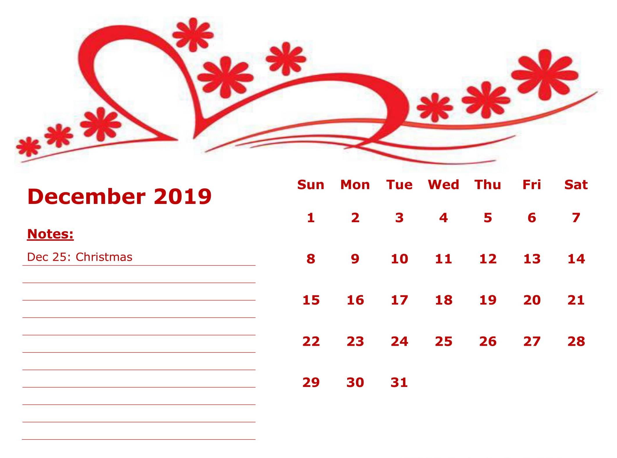 Floral December 2019 Calendar Template