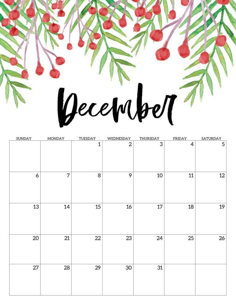 Floral December 2020 Calendar