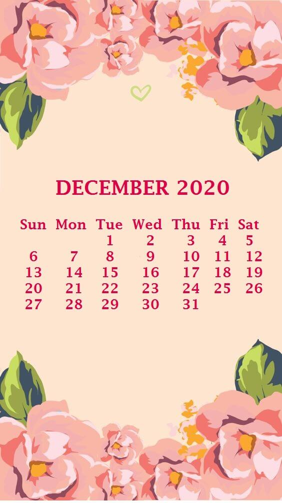 Floral December 2020 iPhone Calendar Wallpaper
