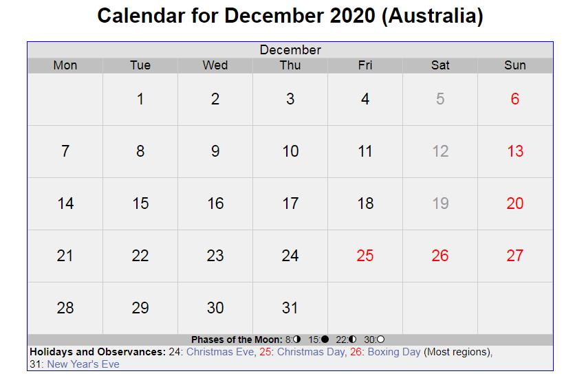 Holidays Calendar for December 2020 Australia