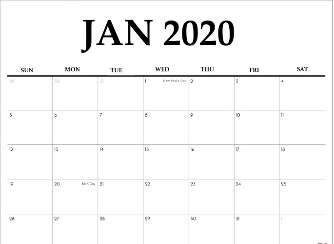 January 2020 Fillable Calendar