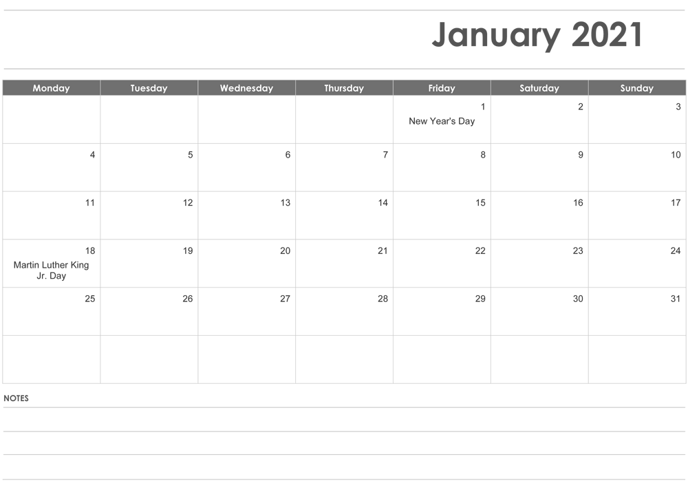 January 2021 Fillable Calendar