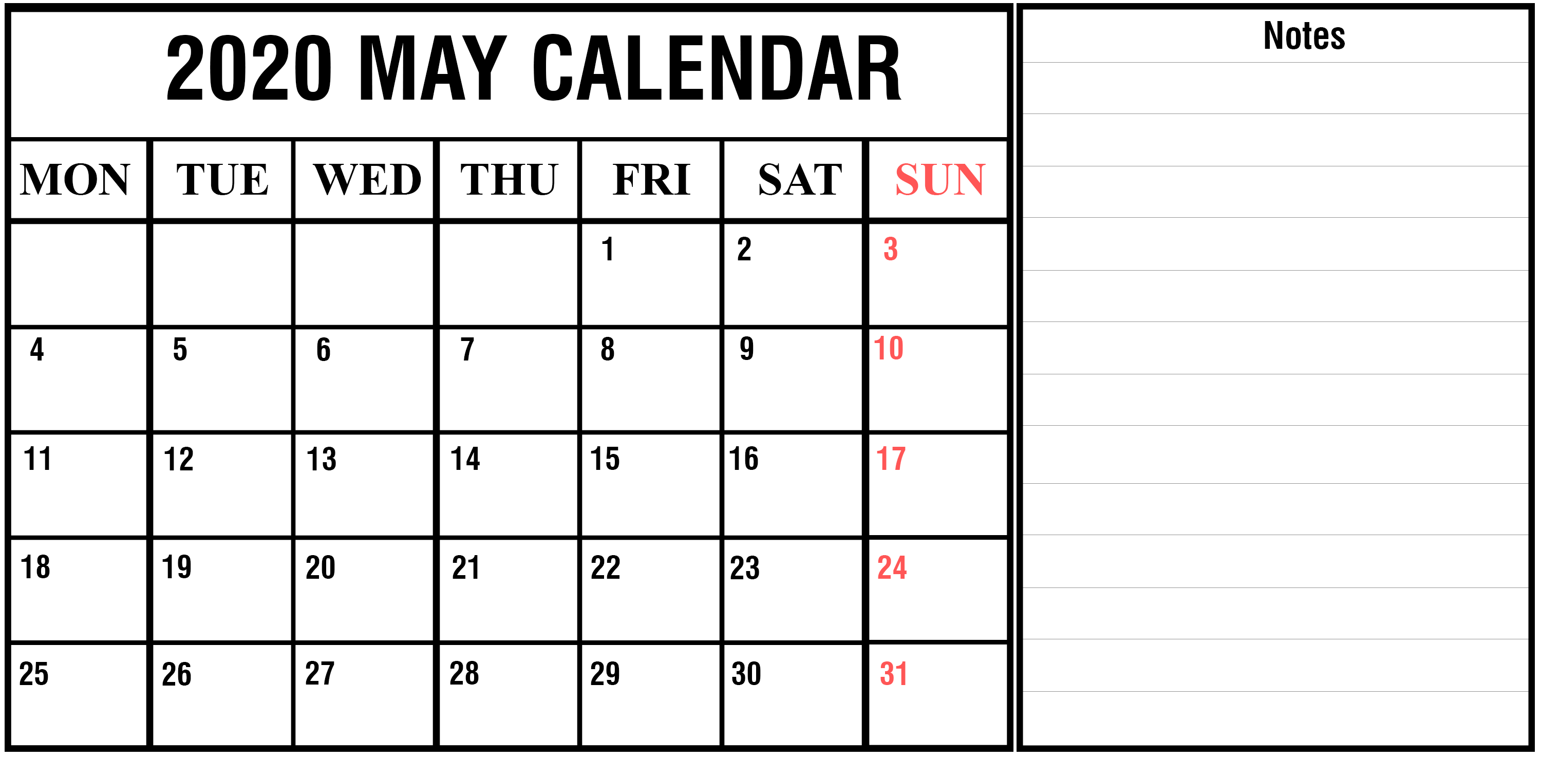 May 2020 Desk Calendar with Notes
