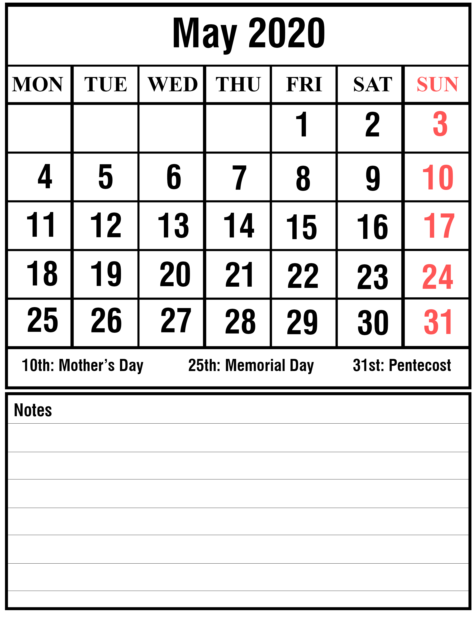 May 2020 Wall Calendar