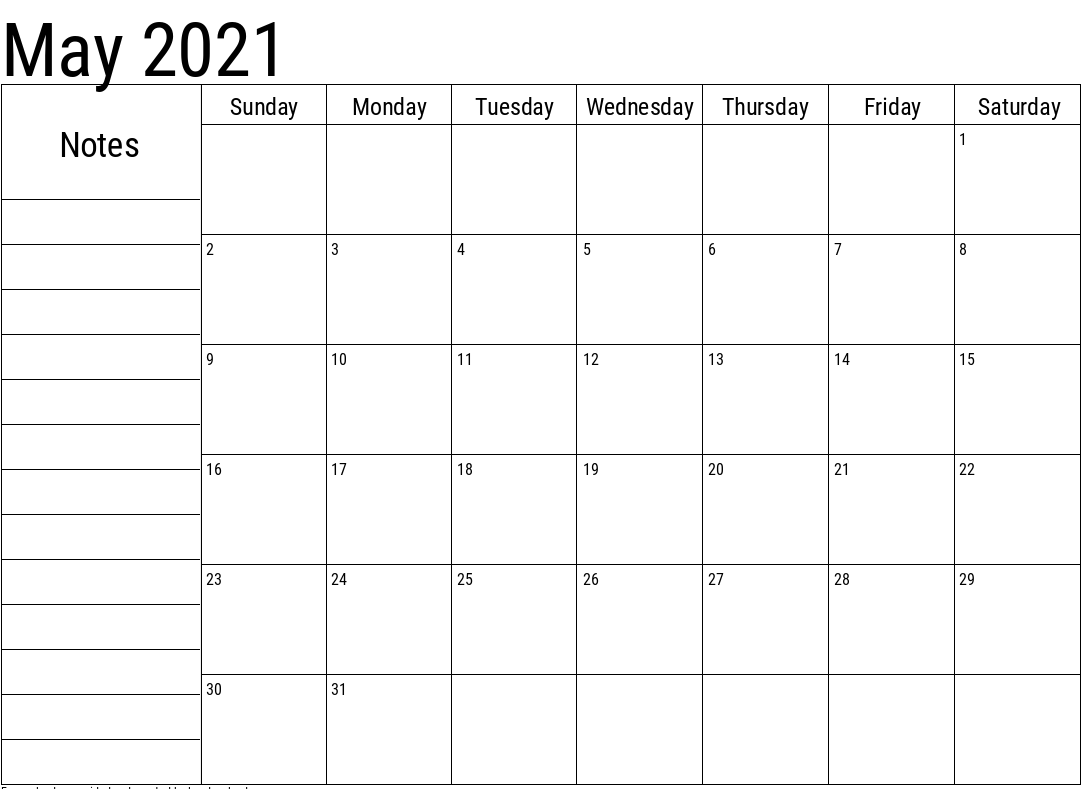 May 2021 Blank Calendar with Notes