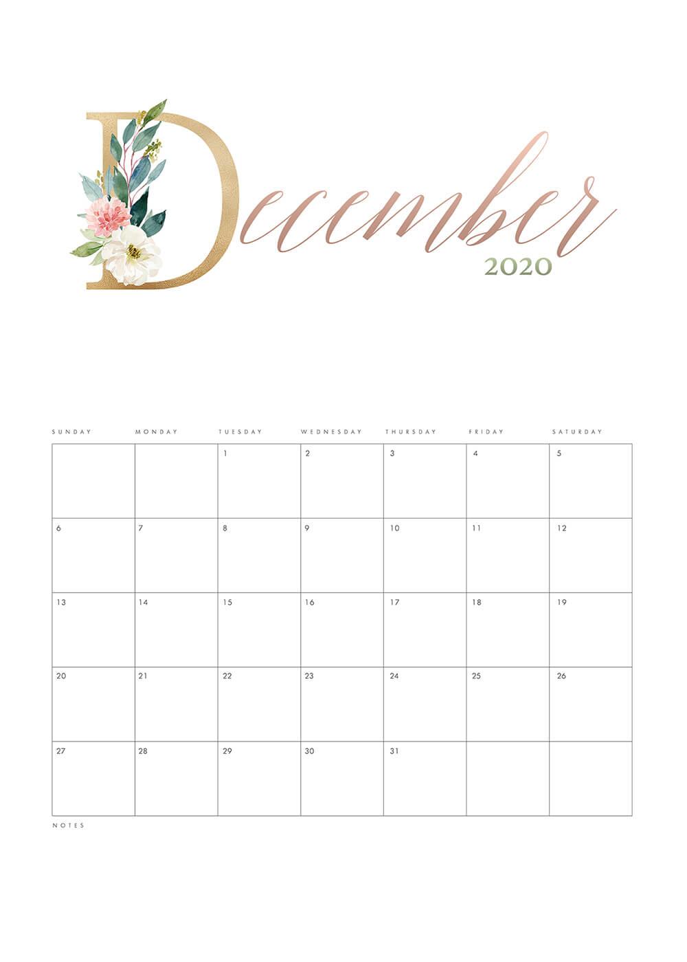 Pretty Floral December Calendar 2020